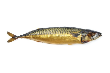 One whole cold smoked mackerel on white background