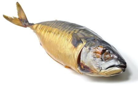 Closeup of whole cold smoked mackerel on lying on white background