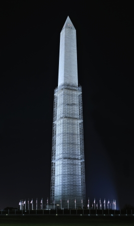 sustained: The Washington Monument with scaffolding around it is still under repair due to damages sustained from the earthquake of August 23, 2011 Stock Photo