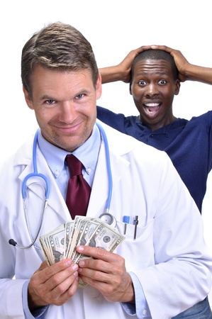 Greedy white male doctor with handful of money and smirky smile walks away from upset male patient on white background photo