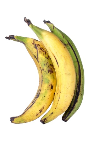 glycemic: Three big ripe yellow and green plantain bananas isolated on white background