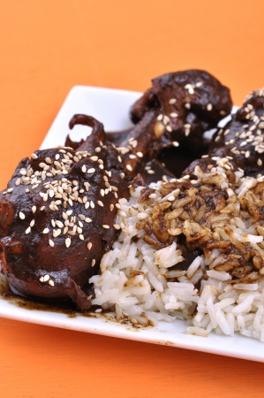 mole: Traditional Mexican dish of chicken and white rice topped with dark mole sauce and sesame seed on orange table