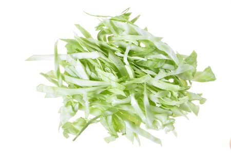 glycemic: Pile of shredded green cabbage isolated on white background Stock Photo