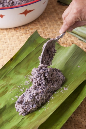 Black bean masa filling placed in banana leaf for making traditional tamales  Stock Photo - 23408072