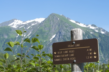Heart Lake trail marker with snow-capped Bear Mountain in background near Sitka, Alaska on summer day photo