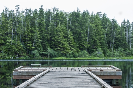 Small wooden dock on quiet lake backdropped by dense green pine forest on cloudy summer day in southeast Alaska Stock Photo - 23415184