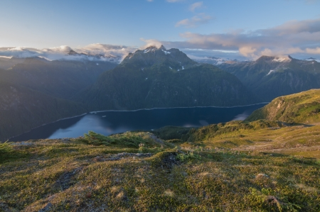 Blue Lake on Baranof Island in Alaska seen from high up on the slope of Bear Mountain Stock Photo - 23415181