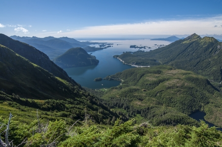 alaska scenic: Beautiful clear scenic view of Silver Bay and Pacific Ocean from Bear Mountain on Baranof Island in southeast Alaska