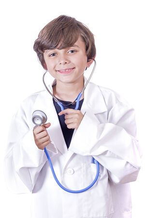 aspiring: Portrait of young boy in white lab coat aspiring to become a doctor