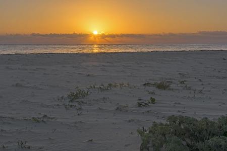 roo: Beautiful golden sunrise over Caribbean Sea on sandy northern beach of Isla Blanca, Quintana Roo, Mexico