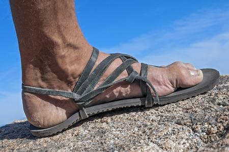 dirty feet: Closeup of man