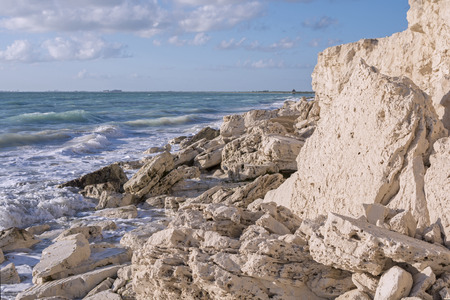 limestone: Rocky limestone shore of Caribbean Sea near Isla Blanca north of Cancun, Mexico Stock Photo