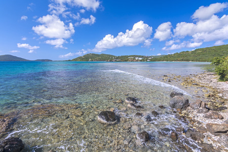 linda: Clear translucent shallow blue water of Bahia Linda on tropical Caribbean island of Culebra in Puerto Rico Stock Photo