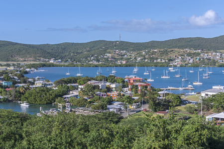 Beautiful view of Ensenada Honda bay and town of Dewey on Puerto Rican island of Isla Culebra in the Caribbean Sea Editorial