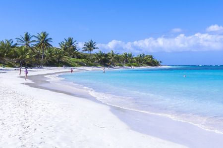 CULEBRA, PUERTO RICO - JANUARY 21, 2014: Vacationers enjoy the clear blue water and warm sunshine on one of the worlds best beaches, Flamenco Beach, on the island of Culebra off the eastern coast of Puerto Rico Editorial