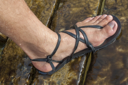 ankle strap: Closeup of man foot