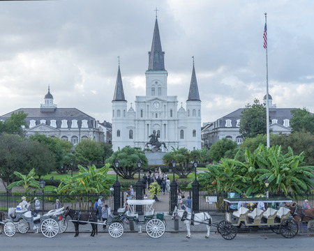horse drawn carriage: NEW ORLEANS, USA - OCTOBER 10, 2014: Horse-drawn carriages are lined up along the street and a wedding party take pictures in front of St. Louis Cathedral in New Orleans under a cloudy afternoon sky