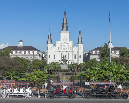 influx: NEW ORLEANS, USA - OCTOBER 11, 2014: Horse-drawn carriages are lined up on street in front of Saint Louis Cathedral in New Orleans on a beautiful sunny Saturday morning ready for the influx of tourists to soon arrive. Editorial
