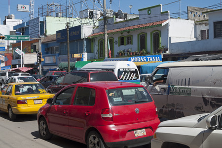 tabasco: VILLAHERMOSA, MEXICO - NOVEMBER 23, 2014: Heavy traffic is a common problem on the streets and highways of Villahermosa, Tabasco, Mexico Editorial