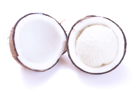 sprouted: Cracked in half dehusked sprouted coconut with white spongy meat on white background
