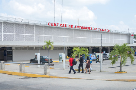 tabasco: VILLAHERMOSA, MEXICO - DECEMBER 21, 2014: The Central de Autobuses de Tabasco bus terminal is the point of departure for inexpensive travel to many destinations in southern Mexico
