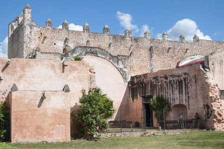 convent: Rear side of massive Convent of Saint Bernardine of Siena built by the Franciscans in the 16th century in Valladolid, Mexico