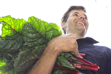 Low angle closeup of handsome Caucasian man smiling while carrying armful of fresh picked red Swiss chard leaves