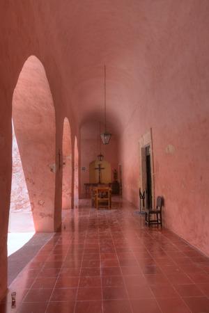 bernardino: Beautifully colored interior hallway and tile floor of San Bernardino de Siena convent in Valladolid, Yucatan, Mexico
