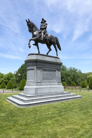 ornately: Beautiful bronze statue of George Washington at ornately landscaped Boston Common park in Boston, Massachusetts under clear sunny sky