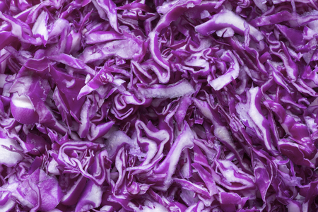 brassica: Closeup of chopped raw Brassica oleracea red cabbage filling image frame