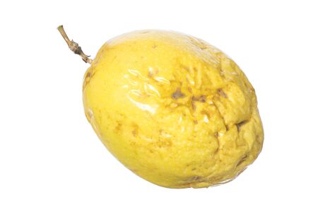 var: Closeup whole yellow maracuja Passiflora edulis var. flavicarpa passion fruit isolated on white background