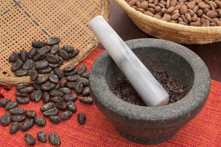 latin food: Cocoa production with stone mortar and pestle with raw, peeled, and crushed Theobroma cacao cocoa beans and traditional baskets