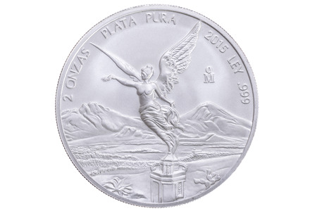 front side: Closeup front side of two ounce Mexican bullion silver libertad coin featuring winged Victoria celebrating the Mexican Independence Victory isolated on white background
