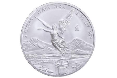 independencia: Primer lado frontal por dos la onza moneda de oro en M�xico con plata libertad que ofrece Victoria alada que celebra la Independencia de la victoria mexicana aislado en el fondo blanco