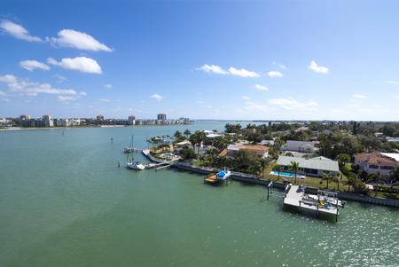 pinellas: Wide angle overlooking beautiful aqua green water of Pass-a-Grille channel and islands of Isla del Sol and Vina del Mar on the gulf coast of Florida on sunny day