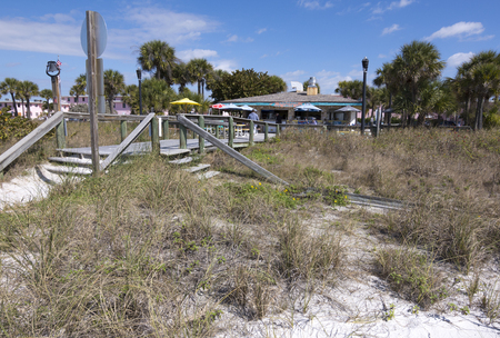 st  pete: ST. PETERSBURG, FLORIDA, USA - FEBRUARY 25, 2016: Seaside cafes like this one at St. Pete Beach are common along Floridas gulf coast.