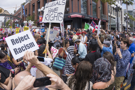 donald: SAN DIEGO, USA - MAY 27, 2016: Hundreds of protesters gather in the gaslamp area to display their thoughts about Donald Trumps presidential campaign at an anti-Trump demonstration. Editorial
