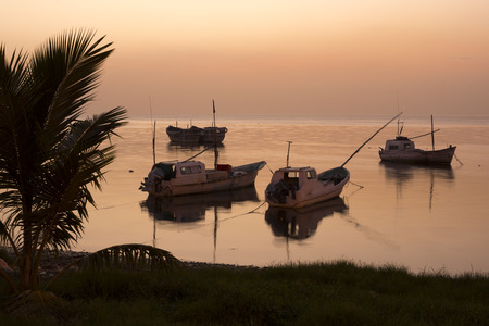 CAMPECHE, MEXICO - JULY 8, 2016: Five Mexican panga fishing boats sit quietly moored near shore in the calm water of the Gulf of Mexico at the day's end. Redactioneel