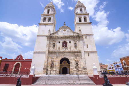 immaculate: Beautiful architectural design in the facade of the Cathedral of Our Lady of the Immaculate Conception in historical downtown Campeche, Mexico on sunny day