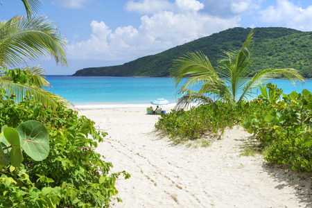 Beautiful scenic Flamenco Beach with white sand and clear blue water on Caribbean island of Isla Culebra in Puerto Rico