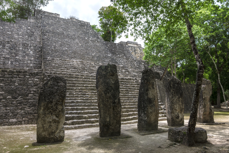 calakmul: Base of Mayan pyramid structure VII and stalae among tropical trees at ancient archaeological site of Calakmul in Campeche, Mexico Stock Photo