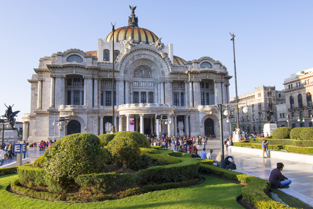 finalized: MEXICO CITY, MEXICO - APRIL 19, 2017: Construction finalized in 1934, the Palace of Fine Arts in Mexico City hosts the most prominent events in music, dance, theater and other arts. Its architectural beauty makes this a popular location for visitors. Editorial