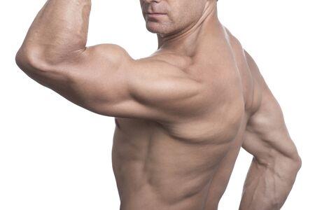 Tan torso of muscular lean Caucasian man performing rear biceps pose on white background photo