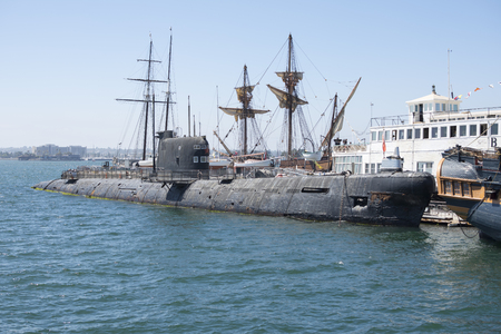 sight seeing: SAN DIEGO, CALIFORNIA, USA - AUGUST 9, 2017: A B-39 Soviet submarine from 1974 is included among other historical boats at the Maritime Museum of San Diego