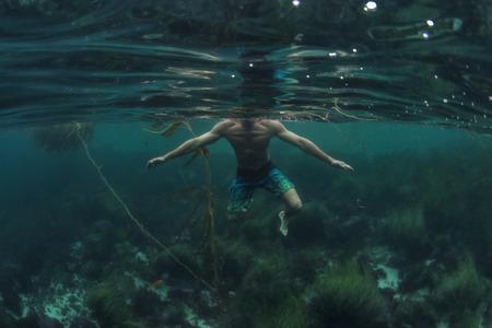 Groothoek onderwaterhaai POV van man water betreden over rotsachtige bodem van de oceaan in de Stille Oceaan van Californië Stockfoto