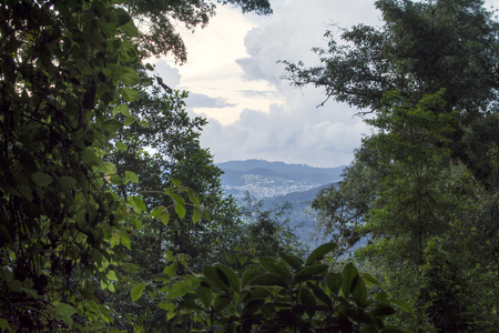 Opening in Huitepec forest permits view of small town of San Juan Chamula in Chiapas, Mexico on cloudy summer afternoon