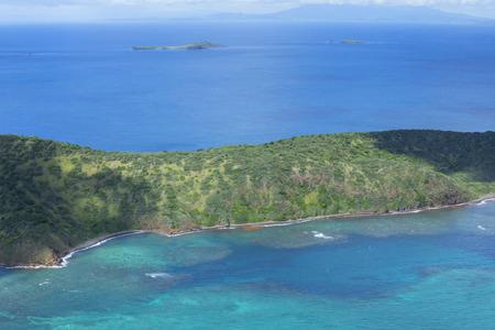 Aerial view of remote uninhabited Flamenco Peninsula on Isla Culebra island in Caribbean Sea Stock Photo