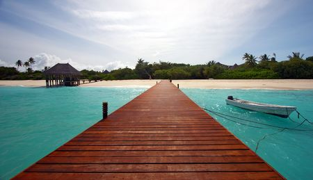 pathway leading to tropical island photo