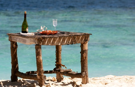 deserted: Private picnic on the beach of deserted maldivian island