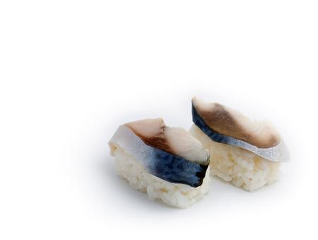 Japanese food: delicious Saba (mackerel) Nigiri Sushi isolated on white background. photo